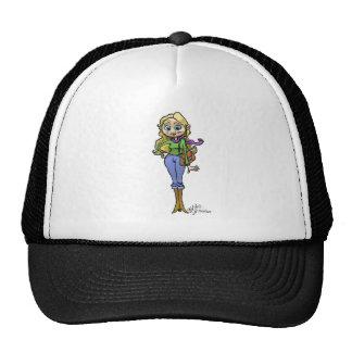 Cartoon Illustration of Shopping woman, cap. Trucker Hat