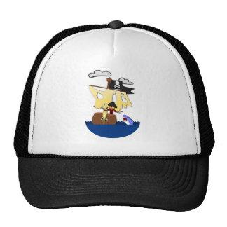 Cartoon in Pirate Trucker Hat