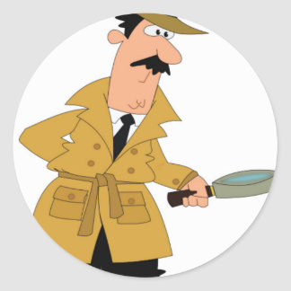 cartoon investigator yeah classic round sticker