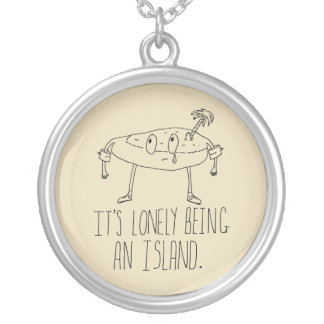 Cartoon Island Silver Plated Necklace