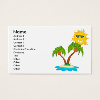 cartoon island sun and palm trees business card