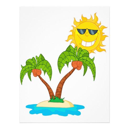 cartoon island sun and palm trees flyer