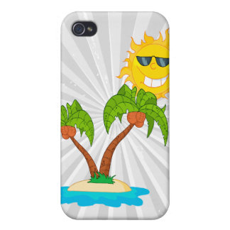 cartoon island sun and palm trees iPhone 4/4S cover