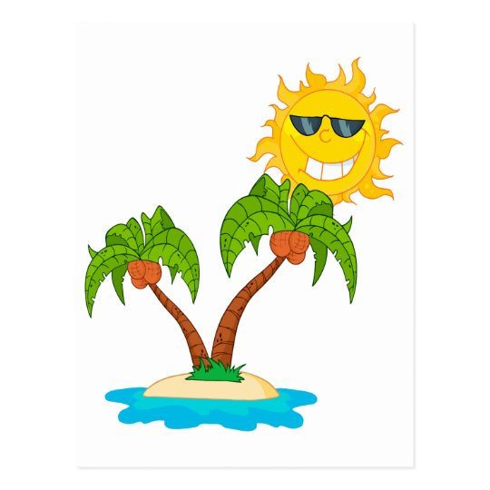cartoon island sun and palm trees postcard