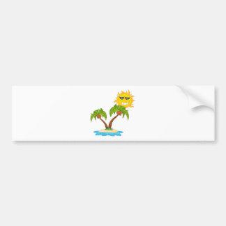 -Cartoon Island With Two Palm Tree And Cartoon Sun Bumper Sticker