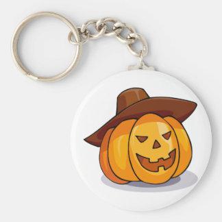 Cartoon Jack-o-Lantern Pumpkin Wearing Cowboy Hat Basic Round Button Keychain