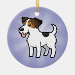 Cartoon Jack Russell Terrier (add your message) Christmas Tree Ornaments