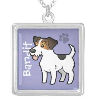 Cartoon Jack Russell Terrier (add your pets name) Square Pendant Necklace