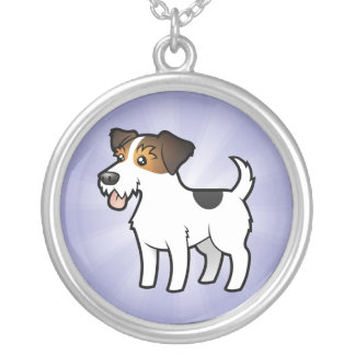Cartoon Jack Russell Terrier Round Pendant Necklace