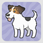 Cartoon Jack Russell Terrier Square Sticker