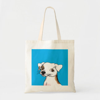Cartoon Jack Russell with one patch Canvas Bag
