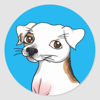 Cartoon Jack Russell with one patch Classic Round Sticker