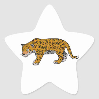 Cartoon Jaguar Star Sticker