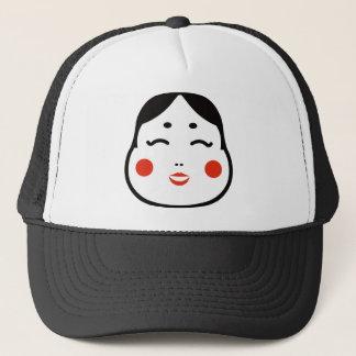 cartoon japanese okame face illustration trucker hat