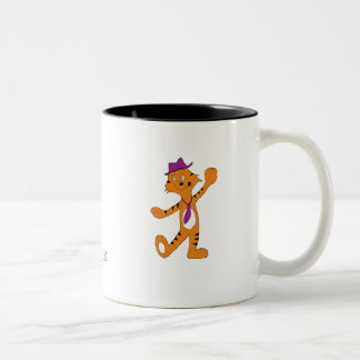 Cartoon Jazz Dancing Tiger Two-Tone Coffee Mug
