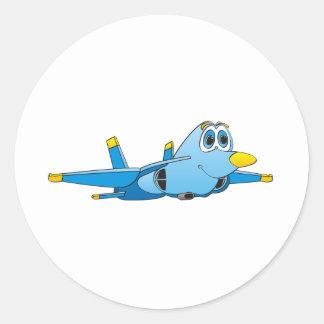 Cartoon Jet Classic Round Sticker