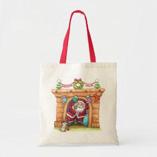 Cartoon Jolly Santa Claus Coming Down a Chimney Budget Tote Bag