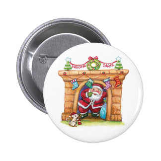 Cartoon Jolly Santa Claus Coming Down a Chimney 2 Inch Round Button