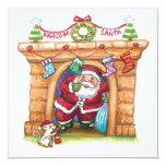 Cartoon Jolly Santa Claus Coming Down a Chimney Announcement