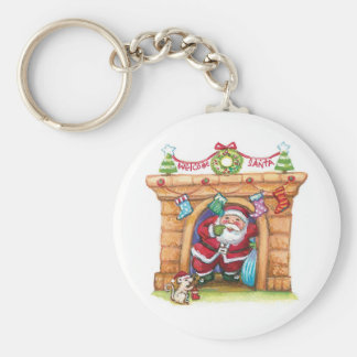 Cartoon Jolly Santa Claus Coming Down a Chimney Basic Round Button Keychain