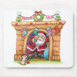 Cartoon Jolly Santa Claus Coming Down a Chimney Mouse Pads