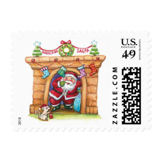 Cartoon Jolly Santa Claus Coming Down a Chimney Postage Stamp
