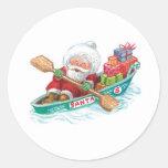 Cartoon Jolly Santa Claus, Row Boat with Presents Sticker
