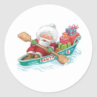 Cartoon Jolly Santa Claus, Row Boat with Presents Classic Round Sticker