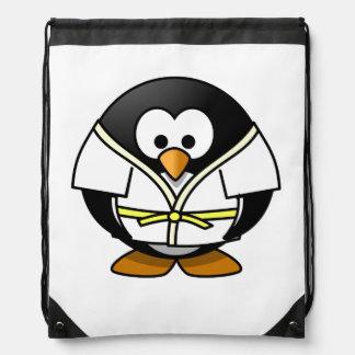 Cartoon Judo Penguin Drawstring Backpack