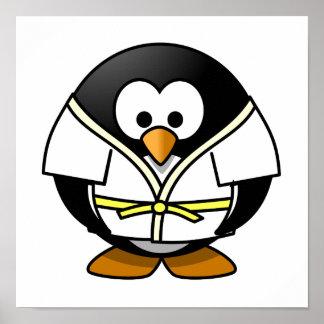 Cartoon Judo Penguin Poster