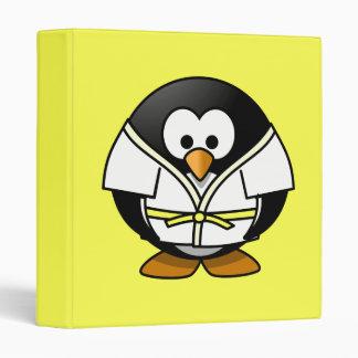 Cartoon Judo Penguin Yellow Background Vinyl Binder