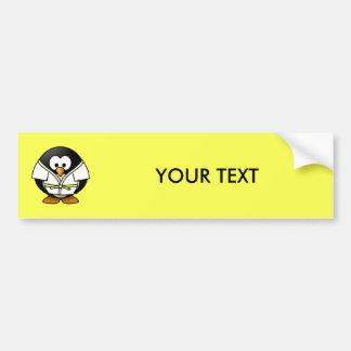 Cartoon Judo Penguin Yellow Background Bumper Sticker