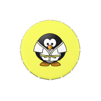 Cartoon Judo Penguin Yellow Background Jelly Belly Tin