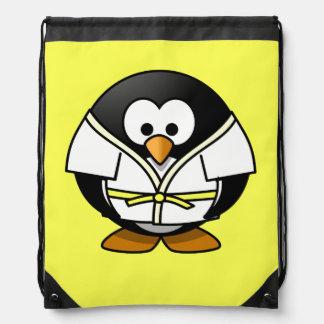 Cartoon Judo Penguin Yellow Background Drawstring Bag