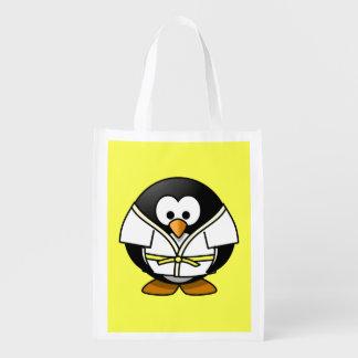 Cartoon Judo Penguin Yellow Background Grocery Bags