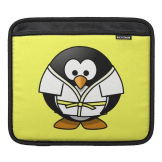 Cartoon Judo Penguin Yellow Background iPad Sleeve