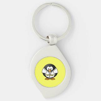 Cartoon Judo Penguin Yellow Background Keychains