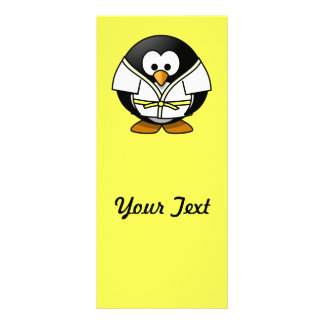 Cartoon Judo Penguin Yellow Background Rack Card