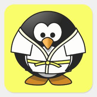Cartoon Judo Penguin Yellow Background Square Sticker