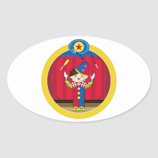 Cartoon Juggling Circus Clown Oval Sticker