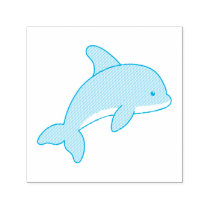 Cartoon Jumping Dolphin Self-inking Stamp