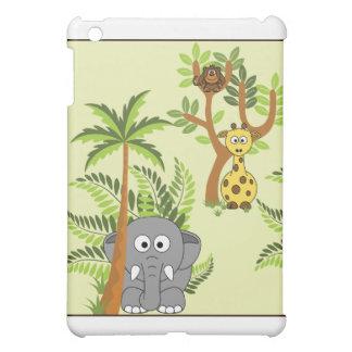 Cartoon Jungle (Elephant, Giraffe, Monkey) iPad Mini Case