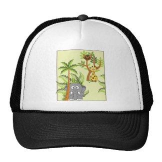 Cartoon Jungle (Elephant, Giraffe, Monkey) Trucker Hat