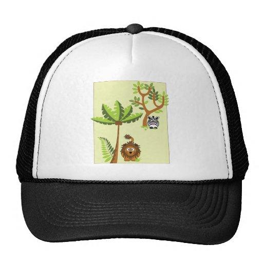 Cartoon Jungle (Lion, Zebra) Mesh Hats