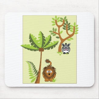 Cartoon Jungle (Lion, Zebra) Mouse Pad