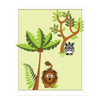 Cartoon Jungle (Lion, Zebra) Postcard