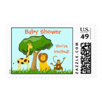 Cartoon Jungle Safari Zoo Animals Baby Shower Postage