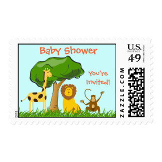 Cartoon Jungle Safari Zoo Animals Baby Shower Postage