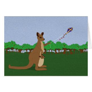Cartoon Kangaroos Flying a Kite Card