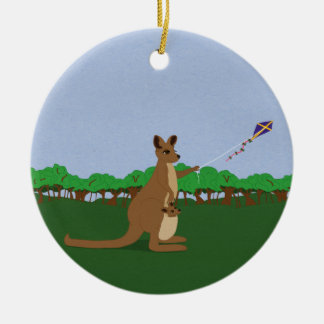 Cartoon Kangaroos Flying a Kite Ceramic Ornament